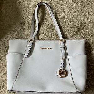 Michael Kors white leather zippered tote handbag